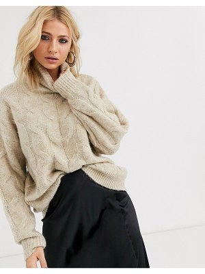 Bershka roll neck cable knitted sweater in beige-white