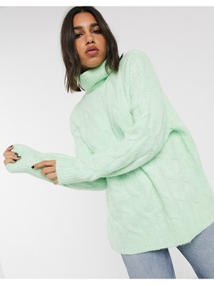 Bershka roll neck cable knitted sweater in mint-green