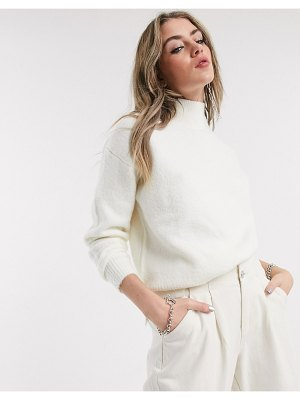 Bershka roll neck sweater in white