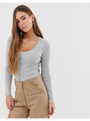 Bershka scoop button front knitted top in gray