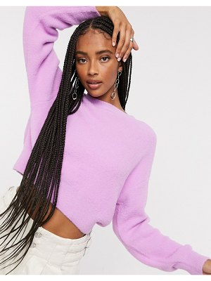 Bershka soft touch crew neck sweater in lilac-purple