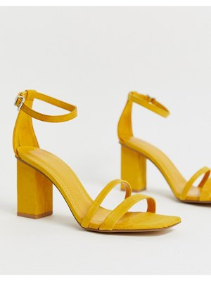 Bershka two part kitten heel sandals in mustard-yellow