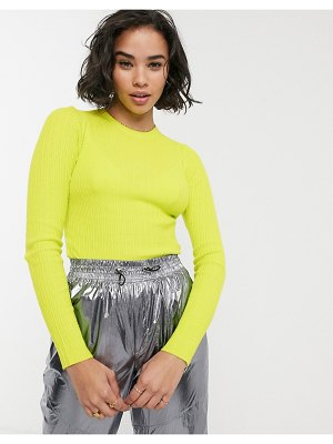 Bershka vertical ribbed fitted sweater in lime green