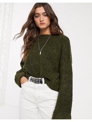 Bershka wide sleeve oversized sweater in green