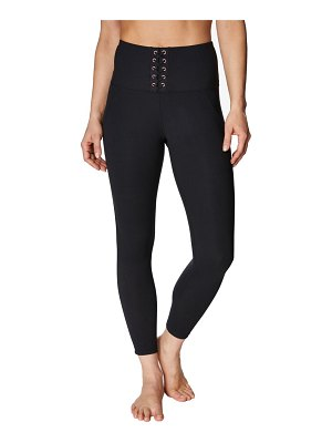 Betsey Johnson High-Rise Lace-Up Leggings