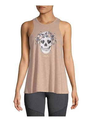 Betsey Johnson Performance Butterfly Skull Racerback Tank Top