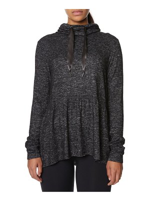 Betsey Johnson Performance Cowlneck Peplum Sweatshirt