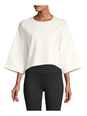 Betsey Johnson Performance Cropped Boxy Sweatshirt