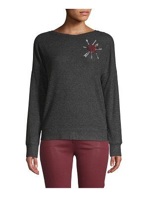 Betsey Johnson Performance Embroidered Boatneck Sweatshirt