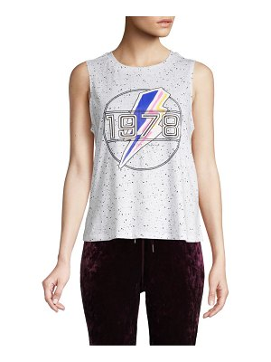 Betsey Johnson Performance Graphic Sleeveless Cotton-Blend Tee