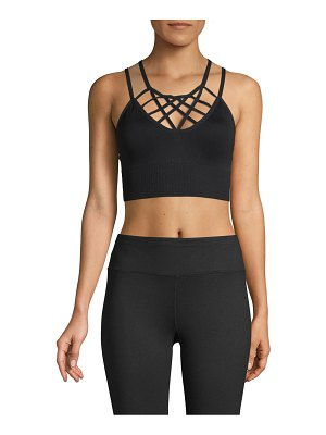 Betsey Johnson Performance Lattice-Front Seamless Sports Bra