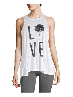 Betsey Johnson Performance Palm Tree Lover Racerback Tank Top