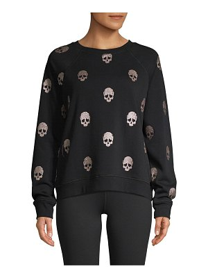 Betsey Johnson Performance Skull-Print Cotton-Blend Sweatshirt