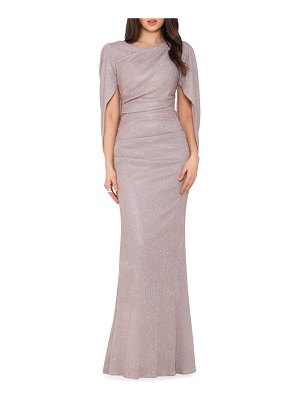 Betsy & Adam cape sleeve trumpet gown