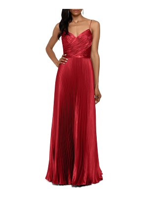 Betsy & Adam crisscross pleated satin a-line gown