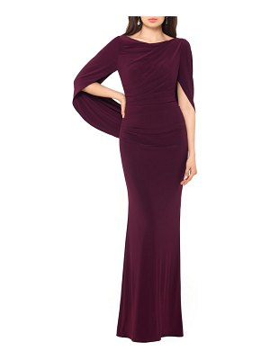 Betsy & Adam drape sleeves trumpet evening gown