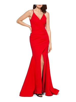 Betsy & Adam front slit trumpet gown