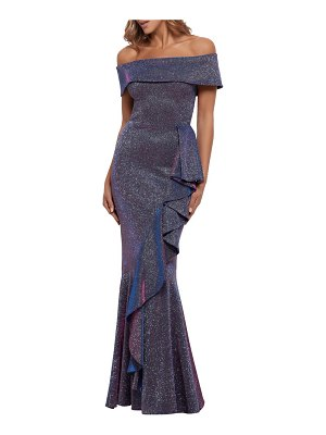Betsy & Adam glitter off the shoulder mermaid gown
