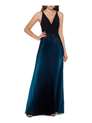 Betsy & Adam ombre pleated v-neck gown