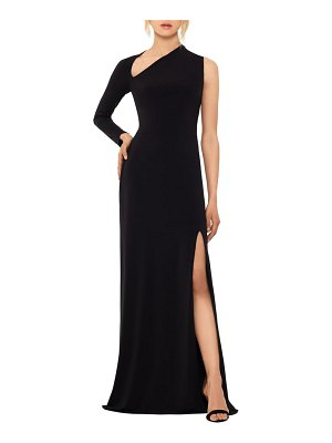 Betsy & Adam one-shoulder single long sleeve gown