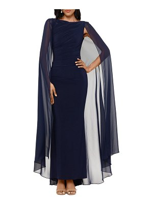 Betsy & Adam ruched trumpet gown with chiffon cape