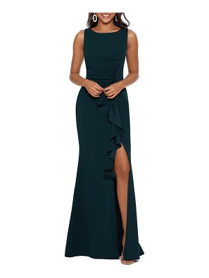 Betsy & Adam ruffle bow trumpet gown
