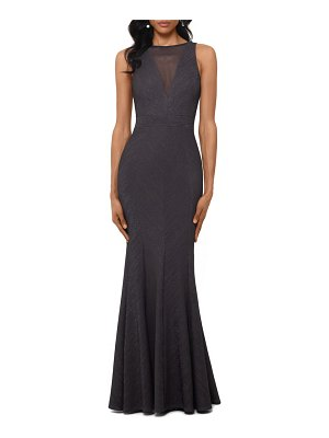 Betsy & Adam shimmering illusion trumpet evening gown