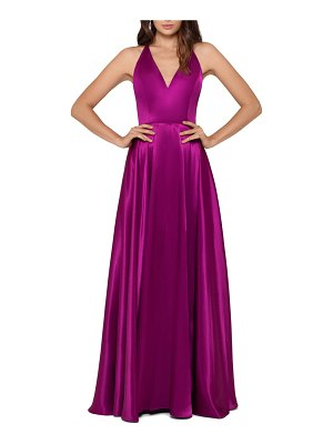 Betsy & Adam tie back satin princess gown