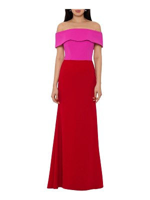 Betsy & Adam two-tone off the shoulder crepe gown