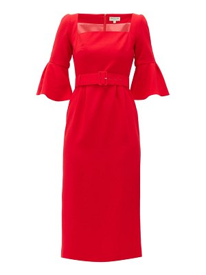 Beulah camellia belted wool-crepe dress