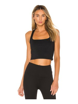 Beyond Yoga heather rib square neck cropped tank