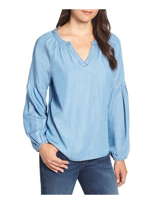 BILLY T chambray peasant top