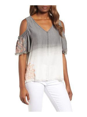 BILLY T dip dye embroidered cold shoulder blouse