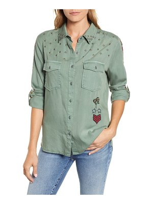 BILLY T embroidered roll-tab shirt