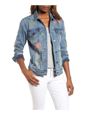BILLY T flamingo embroidered denim jacket