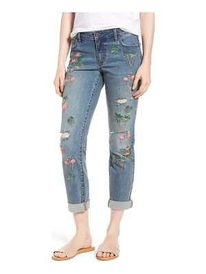 BILLY T flamingo embroidery jeans
