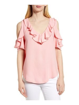 BILLY T ruffled cold-shoulder top