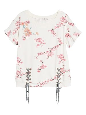 BILLY T cherry blossom short sleeve lace-up sweatshirt