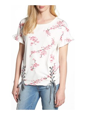 BILLY T short sleeve lace up cherry blossom sweatshirt