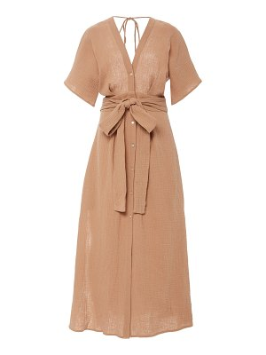 Bird & Knoll ines belted cotton gauze midi dress
