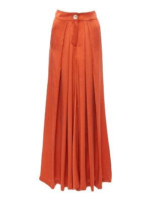 Bird & Knoll raphaelle pleated silk wide-leg pants
