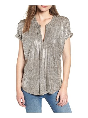 BISHOP AND YOUNG bishop + young blake metallic split neck blouse