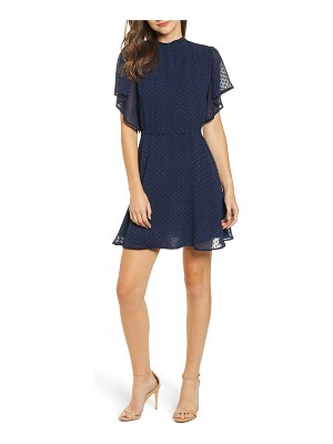 BISHOP AND YOUNG bishop & young swiss dot flutter sleeve fit & flare dress