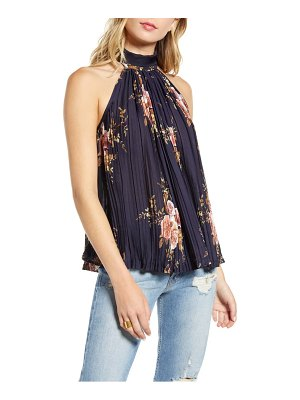 Bishop + Young floral pleated tie neck tank top