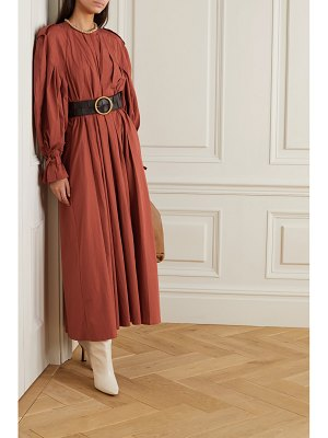 BITE Studios net sustain belted pleated organic cotton maxi dress