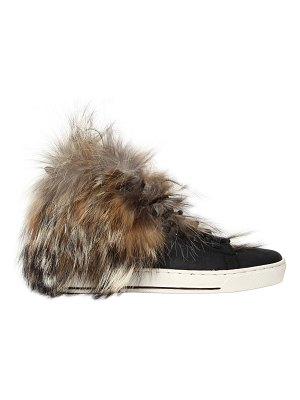 BLACK DIONISO 20mm coyote fur & leather sneakers