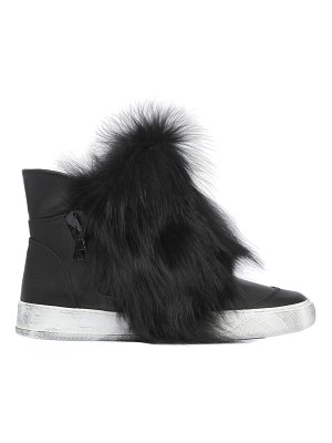 BLACK DIONISO 20mm fox fur & leather high top sneakers