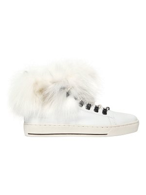 BLACK DIONISO 20mm fox fur & leather sneakers