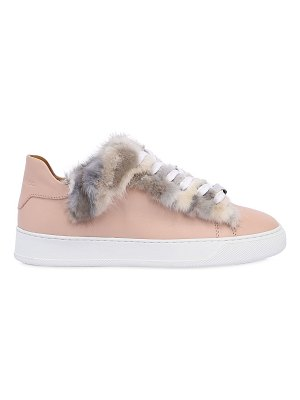 BLACK DIONISO 20mm mink fur & leather sneakers