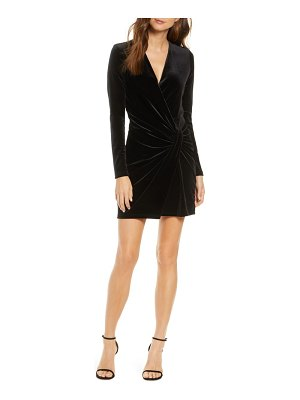 Black Halo abina ruched long sleeve black velvet minidress